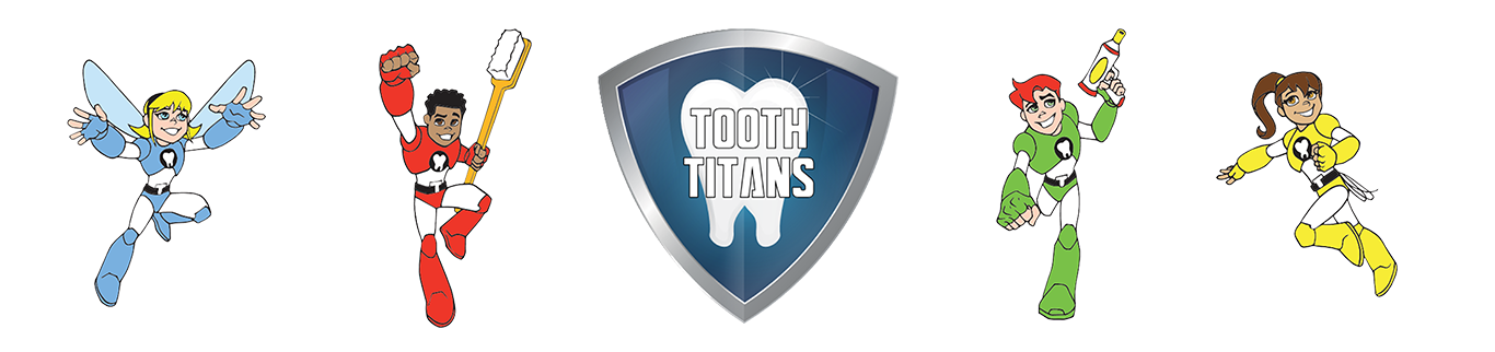 Tooth Titan blue, red, green, and yellow characters