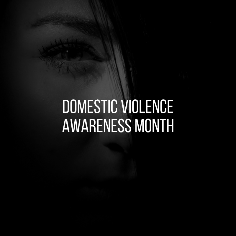 NATIONAL DOMESTIC VIOLENCE AWARENESS MONTH – Women's face in black