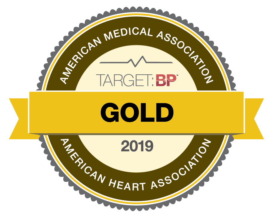 Recognized American Heart Association Gold Level for Blood Pressure